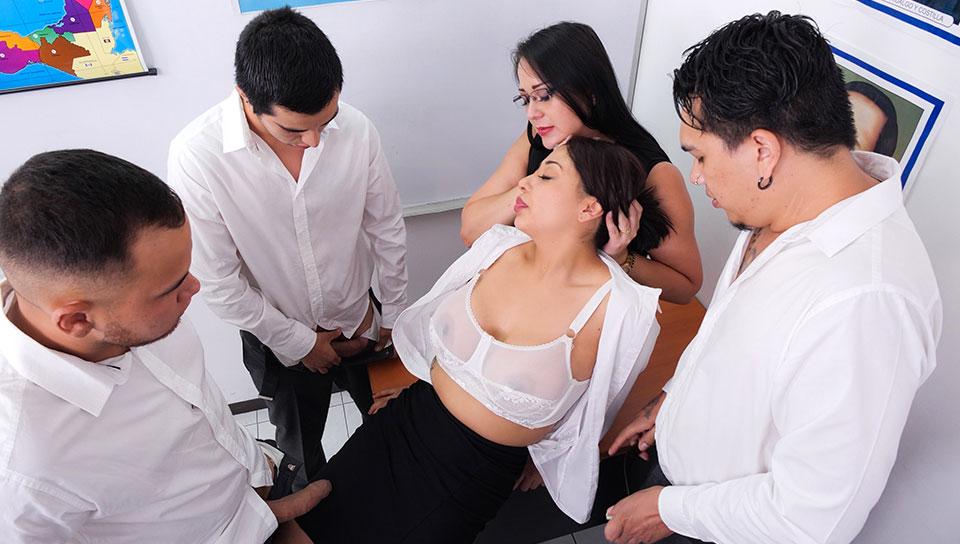Gangbanging the teacher . Sofia Caimanes - SEXMEX